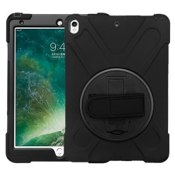 For iPad Pro 10.5 - MYBAT Black/Black Rotatable Stand Protector Cover (with Wristband)