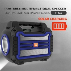 Portable Bluetooth Speaker with handle Loud Sound Heavy Bass Outdoor Solar Charging in Blue