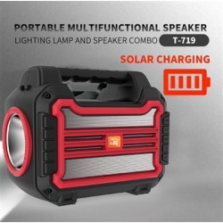 Portable Bluetooth Speaker with handle Loud Sound Heavy Bass Outdoor Solar Charging in Red